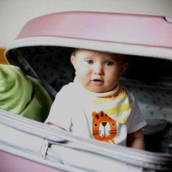 baby in travel case