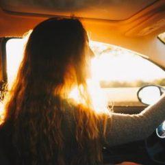 girl doing driving test