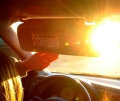 car driving in low sunlight