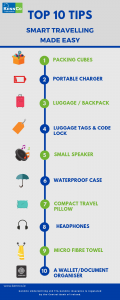 10 tips for smart travelling infographic