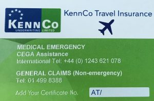 Travel Insurance Emergency Numbers Card